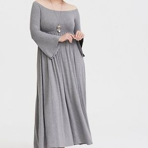 Torrid grey off shoulder jersey maxi dress 2X